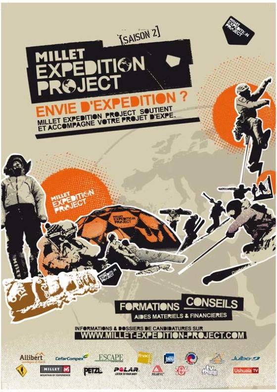 Communication du Millet Expedition Project diffusée dans la presse specialisée et sous forme d'affiches